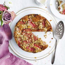 Oaty Rhubarb and Ginger Streusel Cake