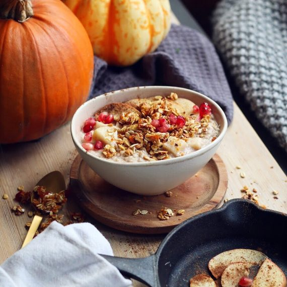 Apple and Cinnamon Porridge with Pumpkin Granola