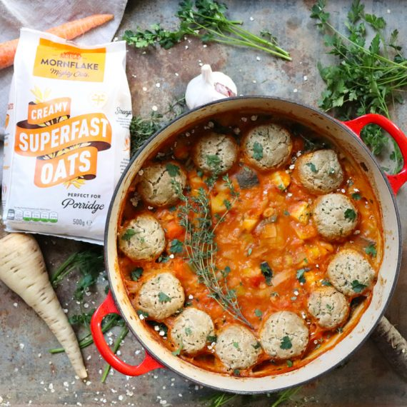 Herby Oat Dumplings and Vegetable One Pot