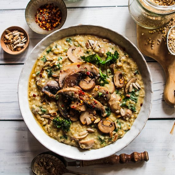 Savoury Porridge with Mushrooms, Kale & Toasted Seeds