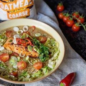 Oat Broth with Honey Soy Salmon