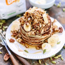 Oatmeal Banana Pancakes with Cardamom, Pecans, Coconut and Maple Syrup