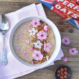 Hazelnut and Cherry Blossom Porridge with Homemade Granola