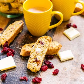 White Chocolate, Orange and Cranberry Biscotti