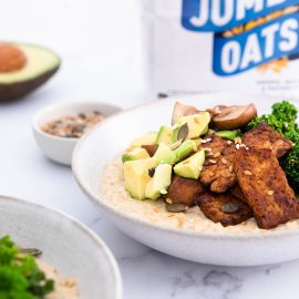 Savoury Porridge with Tempeh Bacon + Avocado
