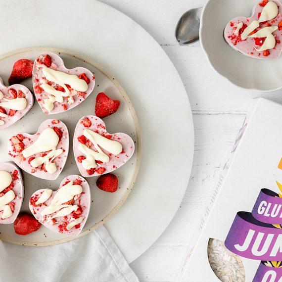 Mini Strawberry Heart-Shaped Cheesecakes