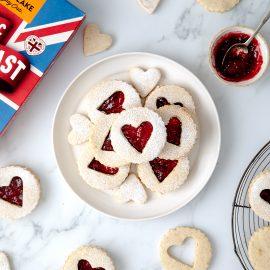 Raspberry Heart Linzer Cookies