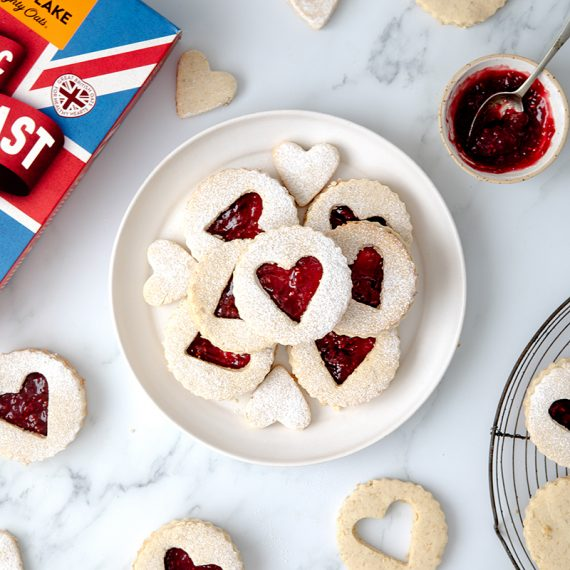 Raspberry Heart Linzer Cookies