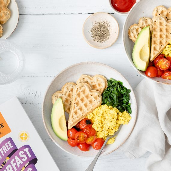 Savoury Breakfast Bowl with Heart Shaped Oat Waffles