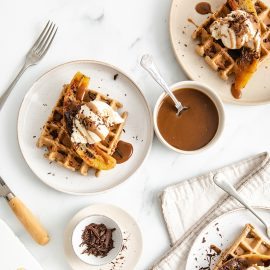Banoffee Waffles with Salted Caramel Sauce