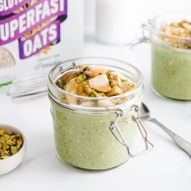 Creamy Matcha and Pistachio Oat Jars