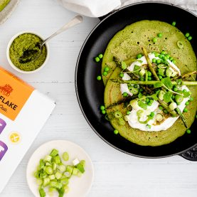 Green Spinach Oat Pancakes with Peas, Spring Onion, Asparagus