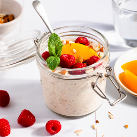 Peach Melba Overnight Oats