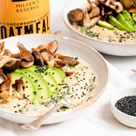 Savoury Miso Wild Mushroom Oatmeal with Kale
